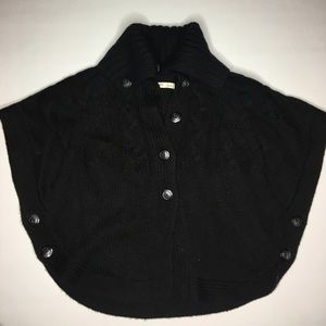 Black cable sweater cape